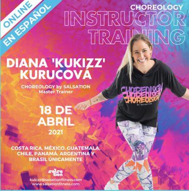 Picture of CHOREOLOGY Instructor training with Kukizz, Online, SPANISH, Costa Rica, Argentina, Chile, Mexico, Brazil, Panama and Guatemala, 18 Apr 2021